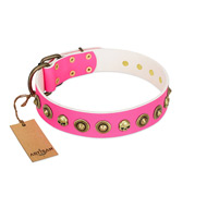 """Pawty Time"" FDT Artisan Pink Leather English Bull Terrier Collar with Decorative Skulls and Brooches"