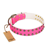 """Blushing Star"" FDT Artisan Pink Leather English Bull Terrier Collar with Two Rows of Small Studs"