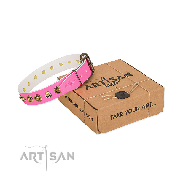 Full grain natural leather collar with inimitable studs for your doggie