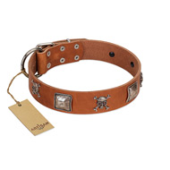 """Amorous Escapade"" Embellished FDT Artisan Tan Leather English Bull Terrier Collar with Chrome Plated Crossbones and Plates"