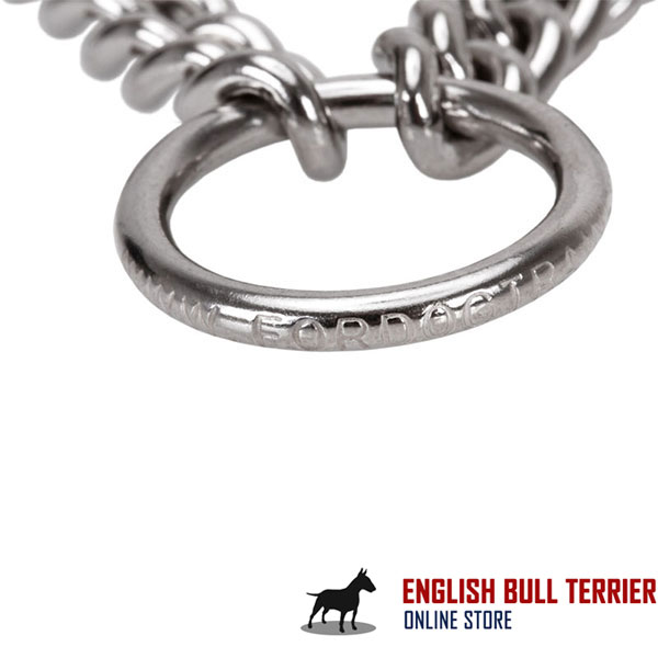Durable dog prong collar of rust resistant stainless steel for large canines
