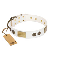 """Sweet Melody"" FDT Artisan White Leather English Bull Terrier Collar with Plates and Ornamented Studs"