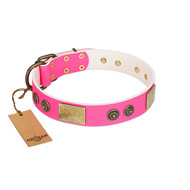 """Queen's Whim"" FDT Artisan Fancy Walking Pink Leather English Bull Terrier Collar Adorned with Old Bronze-like Plates and Studs"