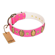 """Drawing Power"" FDT Artisan Pink Leather English Bull Terrier Collar with Engraved Ovals and Dotted Studs"