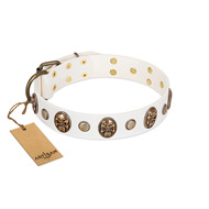 """Fatal Beauty"" FDT Artisan White Leather English Bull Terrier Collar with Old Bronze-like Studs and Oval Brooches"