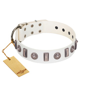 """Icy Spike"" Designer FDT Artisan White Leather English Bull Terrier Collar with Silver-Like Decorations"