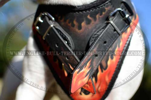 Padded Chest Plate with Hand Painted Flames of Leather Dog Harness