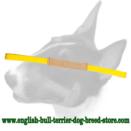 English Bull Terrier Soft Leather Bite Tug with 2 Handles for Training Puppies