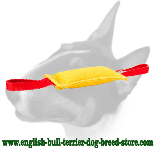 English Bull Terrier French Linen Puppy Bite Tug with 2 Handles