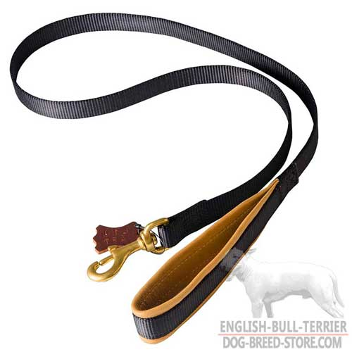 Nylon Bull Terrier Leash with Nappa Padded Handle