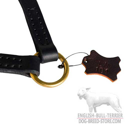 Solid Brass Ring On Leather Dog Coupler for Regular Leash Attachment