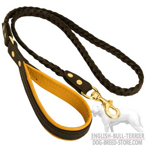 Braided Leather Dog Leash With Nappa Padded Handle for Comfy Walking
