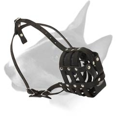 Super Ventilation Leather Muzzle for Bull Terrier